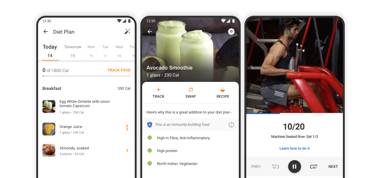 Our app with all the various diet and workout options
